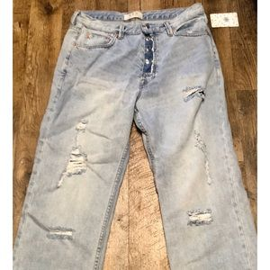 👠FREE PEOPLE NEW Lt. WASH Button DISTRESSED 29